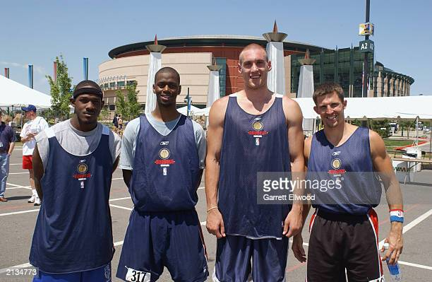 Ramon Taylor Kevin Flectcher Ganon Baker and Pierre Wooten are the winners of the Denver Nuggets open tryout at the Pepsi Center on June 28 2003 in...