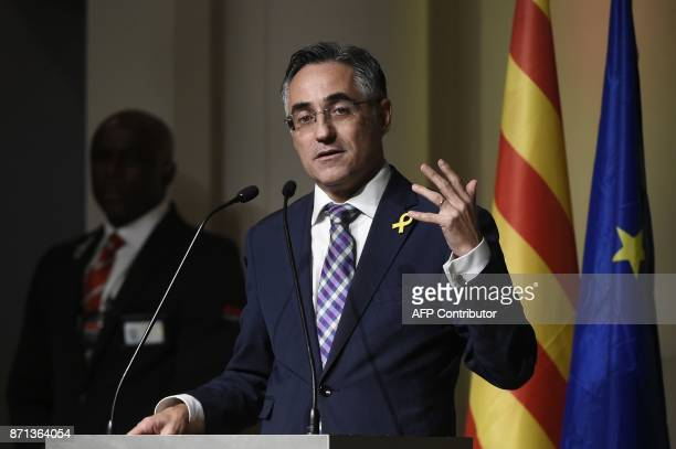 Ramon Tremosa European deputy member of the Catalan European Democratic party delivers a speech during a meeting with Catalan mayors in Brussels on...