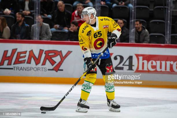 Ramon Untersander of SC Bern in action during the Swiss National League game between Lausanne HC and SC Bern at Vaudoise Arena on November 1, 2019 in...