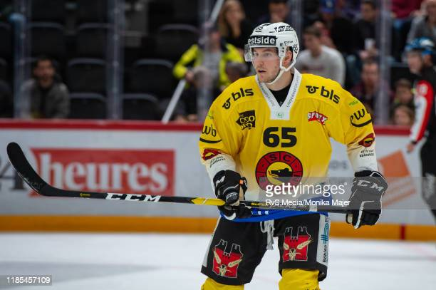 Ramon Untersander of SC Bern looks on during the Swiss National League game between Lausanne HC and SC Bern at Vaudoise Arena on November 1, 2019 in...