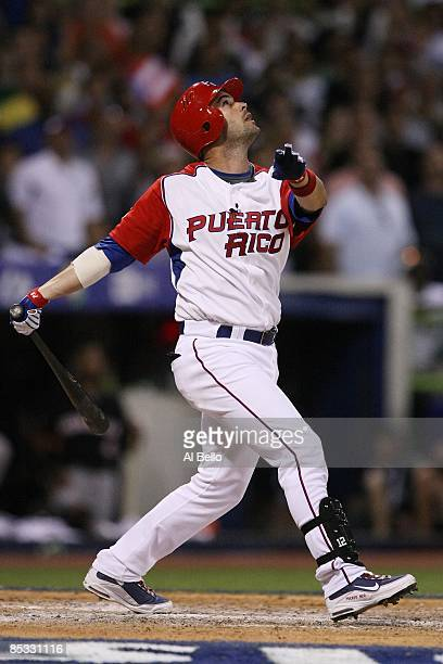 Ramon Vasquez of Puerto Rico bats against The Netherlands during the 2009 World Baseball Classic Pool D match on March 9, 2009 at Hiram Bithorn...