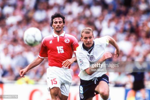 Ramon Vega of Switzerland and Alan Shearer of England during the European Championship match between England and Switzerland at Wembley Stadium...