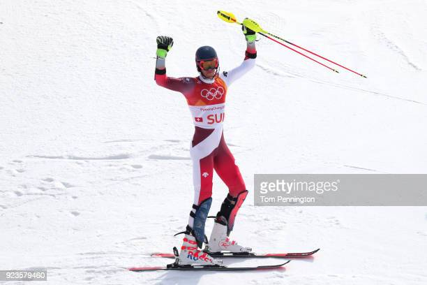 Ramon Zenhaeusern of Switzerland celebrates during the Alpine Team Event Big Final on day 15 of the PyeongChang 2018 Winter Olympic Games at...