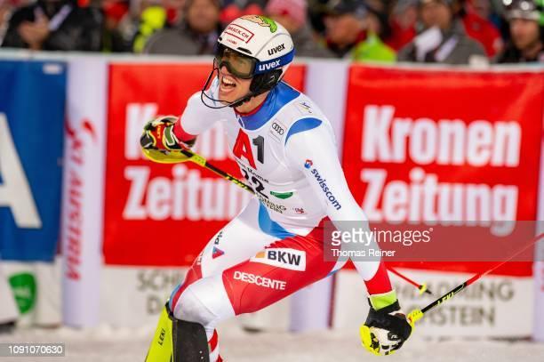 Ramon Zenhaeusern of Switzerland competes at Audi FIS Alpine Ski World Cup - Men's Slalom Schladming on January 29, 2019 in SCHLADMING, Austria.