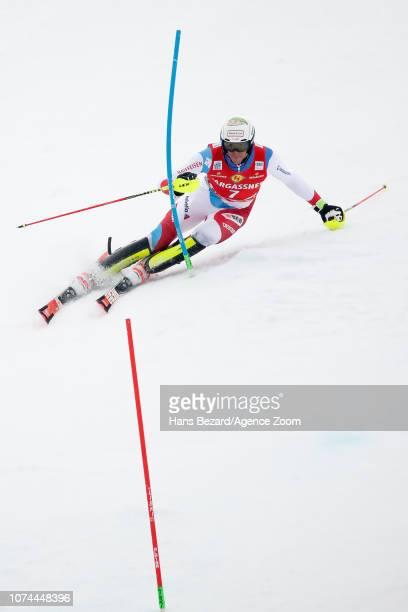 Ramon Zenhaeusern of Switzerland competes during the Audi FIS Alpine Ski World Cup Men's Slalom on December 20 2018 in Saalbach Austria