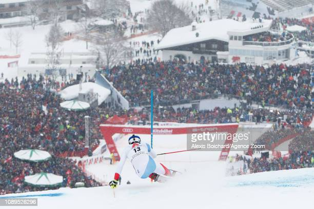 Ramon Zenhaeusern of Switzerland competes during the Audi FIS Alpine Ski World Cup Men's Slalom on January 26 2019 in Kitzbuehel Austria