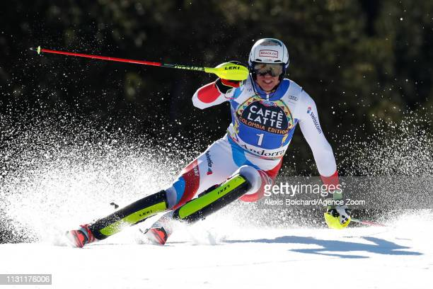Ramon Zenhaeusern of Switzerland competes during the Audi FIS Alpine Ski World Cup Men's Slalom and Women's Giant Slalom on March 17 2019 in Soldeu...