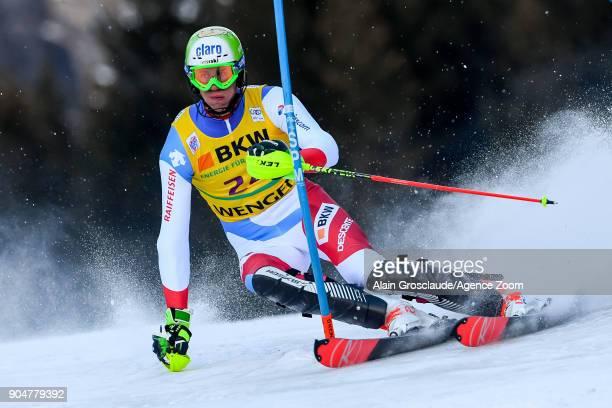 Ramon Zenhaeusern of Switzerland competes during the Audi FIS Alpine Ski World Cup Men's Slalom on January 14 2018 in Wengen Switzerland