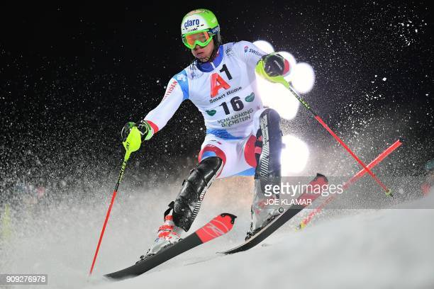 Ramon Zenhaeusern of Switzerland competes during the men's slalom event at the FIS Alpine World Cup in Schladming, Austria on January 23, 2018. / AFP...
