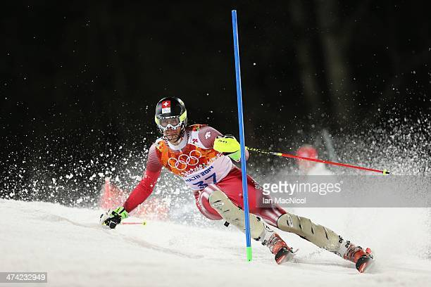 Ramon Zenhaeusern of Switzerland competes during the second run of the Men's Slalom on Day 15 of the Sochi 2014 Winter Olympics at Rosa Khutor Alpine...