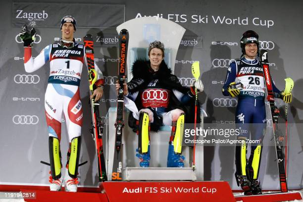 Ramon Zenhaeusern of Switzerland takes 2nd place Clement Noel of France takes 1st place Alex Vinatzer of Italy takes 3rd place during the Audi FIS...