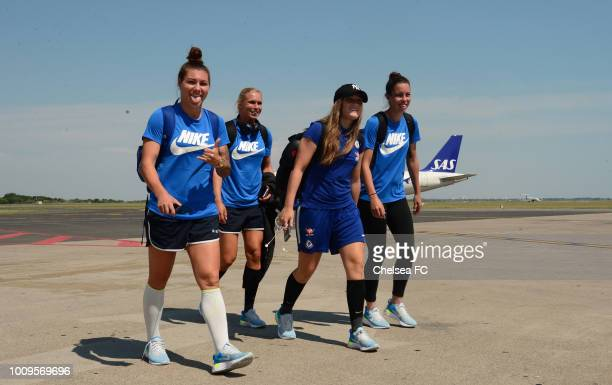 Ramona Bachman Jonna Andersson Erin Cuthbert and Deanna Cooper of Chelsea arrive in Montpellier on August 01 2018 in Montpellier France