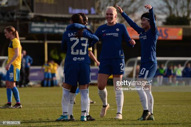 Ramona Bachmann celebrates with her team mates after she scores from the penalty spot to put her side 50 up during a FA Women's Cup 5th Round match...