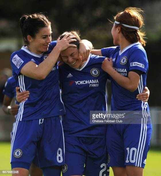 Ramona Bachmann celebrates with her team mates Karen Carney and Ji So Yun after making it 21 during the Women's FA Cup Quarter Final between Chelsea...