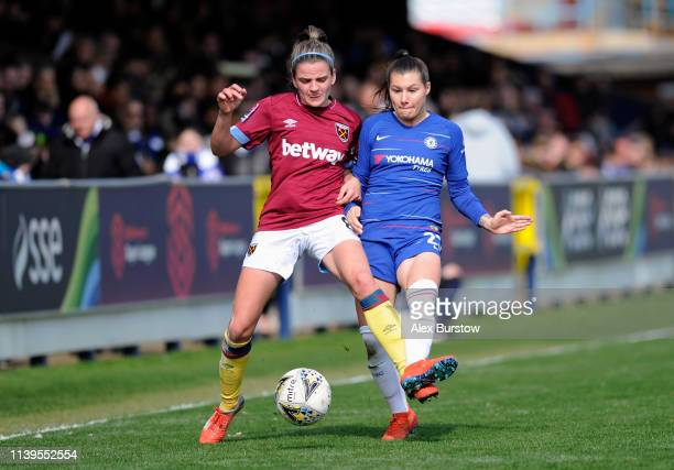 Ramona Bachmann of Chelsea battles for possession with Leanne Kiernan of West Ham United during the FA Women's Super League match between Chelsea...