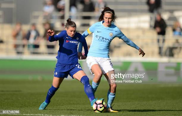 Ramona Bachmann of Chelsea battles for the ball during a WSL match between Chelsea Ladies and Manchester City Women at the Academy Stadium on...