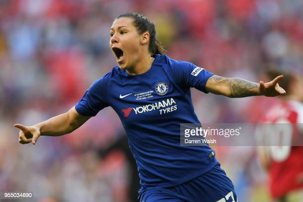 Ramona Bachmann of Chelsea celebrates scoring the opening goal of the game during the SSE Women's FA Cup Final match between Arsenal Women and...