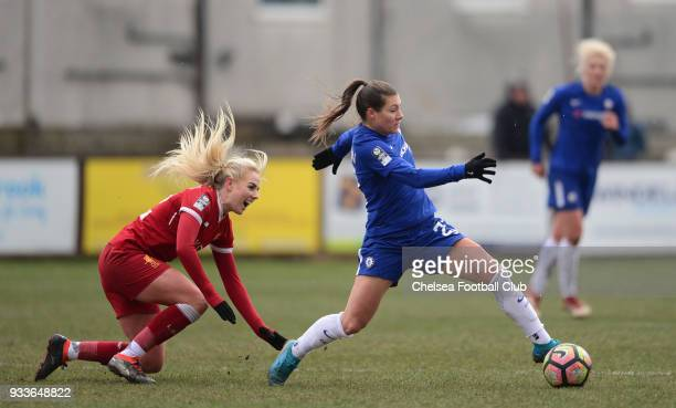 Ramona Bachmann of Chelsea in action during a FA Women's Cup between Chelsea and Liverpool Ladies at Prescot Cables Football Club on March 18 2018 in...