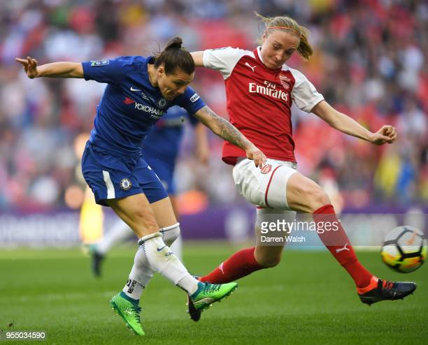 Ramona Bachmann of Chelsea scores the opening goal of the game during the SSE Women's FA Cup Final match between Arsenal Women and Chelsea Ladies at...