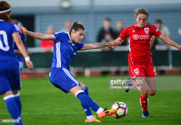 Ramona Bachmann of Chelsea scores to make it 40 during a WSL 1 match between Bristol City Women and Chelsea Ladies at the Stoke Gifford Stadium on...