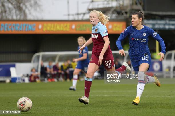 Ramona Bachmann of Chelsea Women getting past Grace Fisk of West Ham United Women during the Barclays FA Women's Super League match between Chelsea...