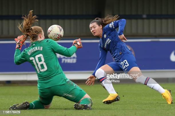 Ramona Bachmann of Chelsea Women shooting and saved by Courtney Brosnan of West Ham United Women during the Barclays FA Women's Super League match...