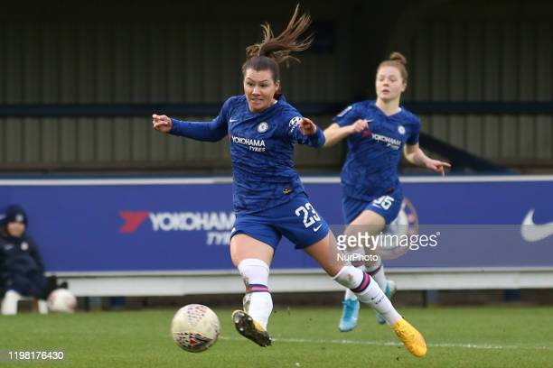 Ramona Bachmann of Chelsea Women shooting during the Barclays FA Women's Super League match between Chelsea and West Ham United at the Kingsmeadow...