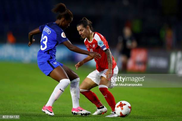Ramona Bachmann of Switzerland and Grace Geyoro of France compete for the ball during the Group C match between Switzerland and France during the...