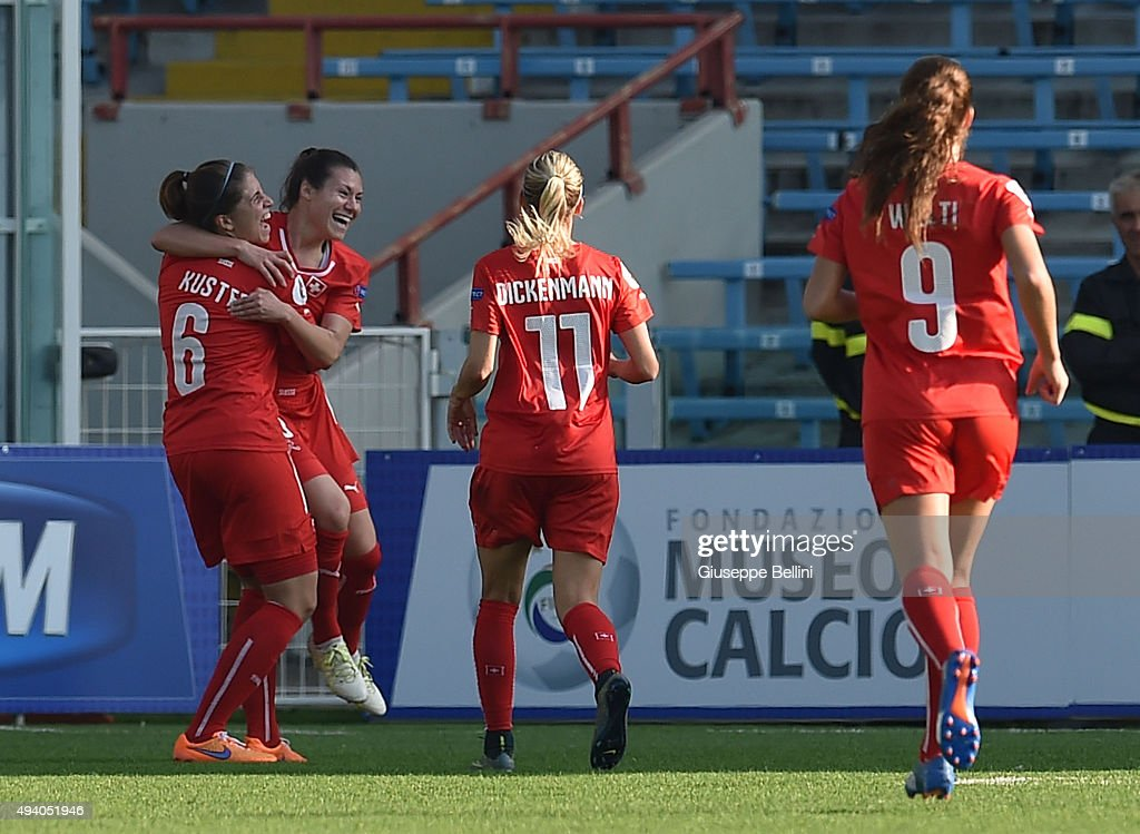 Ramona Bachmann of Switzerland celebrates after scoring the goal 2-0 during the UEFA Women's Euro 2017 Qualifier between Italy and Switzerland at Dino Manuzzi Stadium on October 24, 2015 in Cesena, Italy.