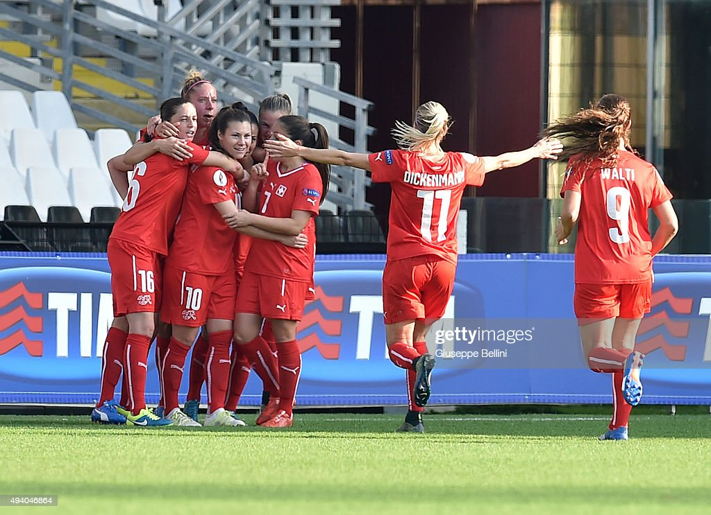 Ramona Bachmann of Switzerland celebrates after scoring the opening goal during the UEFA Women's Euro 2017 Qualifier between Italy and Switzerland at Dino Manuzzi Stadium on October 24, 2015 in Cesena, Italy.