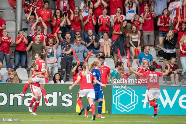 Ramona Bachmann of Switzerland celebrates scoring her sides second goal during the UEFA Women's Euro 2017 Group C match between Iceland and...