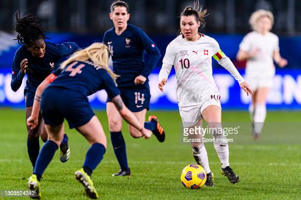 Ramona Bachmann of Switzerland plays against Marion Torrent of France during the friendly match between France and Switzerland at Saint-Symphorien...