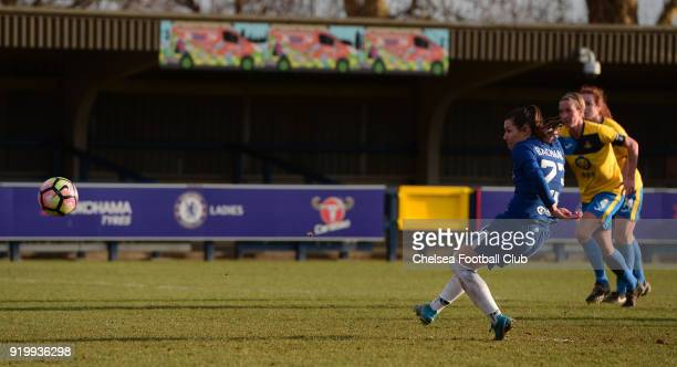 Ramona Bachmann scores from the penalty spot to put her side 50 up during a FA Women's Cup 5th Round match between Chelsea and Doncaster Rovers...