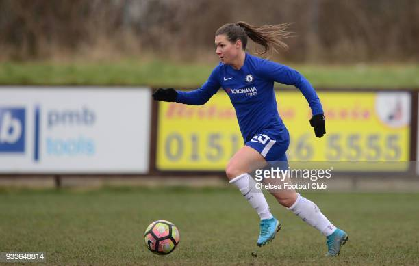Ramona Bacmann of Chelsea in action during a FA Women's Cup between Chelsea and Liverpool Ladies at Prescot Cables Football Club on March 18 2018 in...