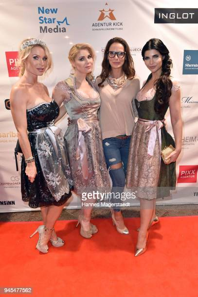Ramona Bernhard Yvonne Woelke Nicole Hayduga and Micaela Schaefer attend Trachtentrends 2018 at Sheraton on April 12 2018 in Munich Germany