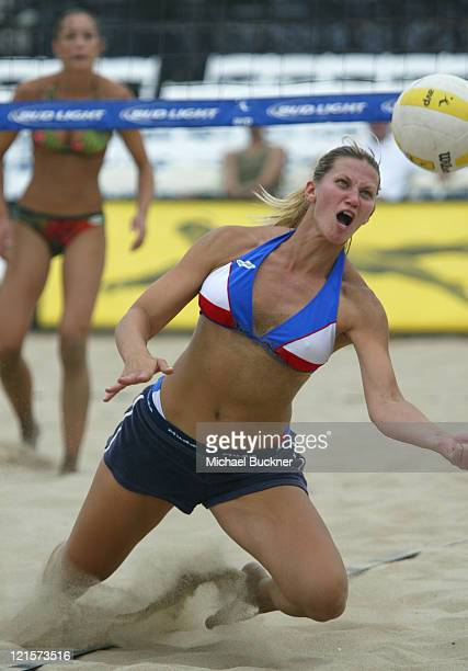 Ramona Caouette dives to save the ball during the loss to Amber Willey and Nicole Midwin at the local qualifiers of the Manhattan Beach Open in...