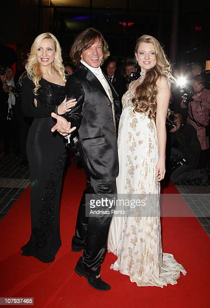 Ramona Drews, singer Juergen Drews and their daughter and singer Joelina Drews arrive at the Berlin Press Ball 2011 at the Ullstein hall on January...