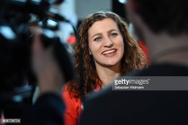 Ramona Hofmeister gives an interview during the 2018 PyeongChang Olympic Games German Team kit handover at Postpalast on January 22 2018 in Munich...