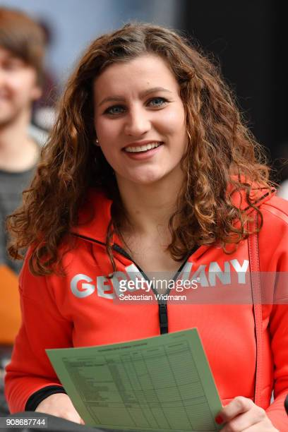 Ramona Hofmeister smiles during the 2018 PyeongChang Olympic Games German Team kit handover at Postpalast on January 22 2018 in Munich Germany