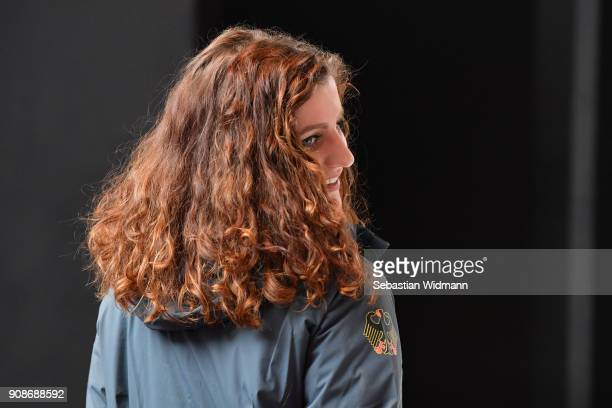Ramona Hofmeister tries on a jacket during the 2018 PyeongChang Olympic Games German Team kit handover at Postpalast on January 22 2018 in Munich...