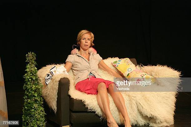 Ramona Kronke performs at the premiere of her one woman play Cavewoman October 2 2007 in Berlin Germany