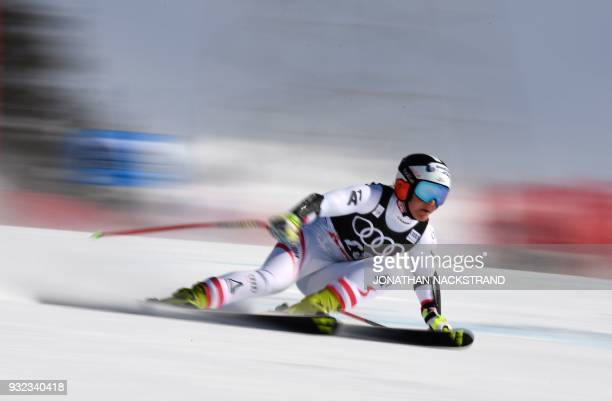 Ramona Siebenhofer of Austria competes in the Ladies' Super G event of the Alpine Skiing World Cup in Aare Sweden on March 15 2018 / AFP PHOTO /...