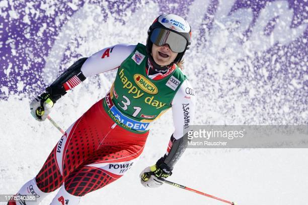 Ramona Siebenhofer of Austria in the second run of the Audi FIS Alpine Ski World Cup - Women's Giant Slalom at Rettenbachferner on October 26, 2019...