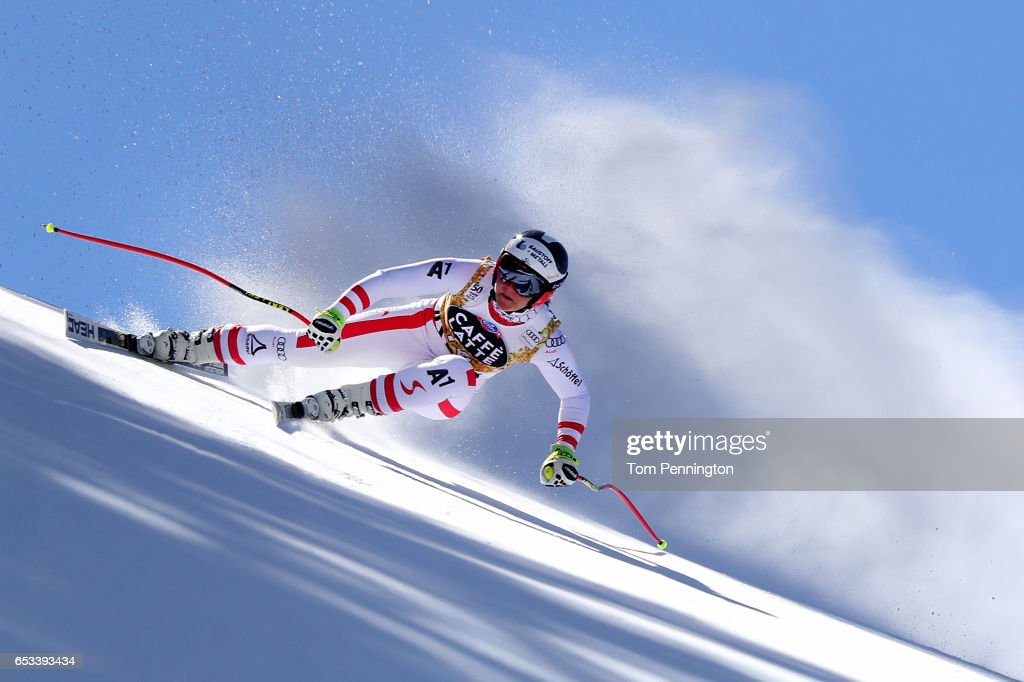 Ramona Siebenhofer of Austria skis during a training run for the ladies' downhill at the Audi FIS Ski World Cup Finals at Aspen Mountain on March 14, 2017 in Aspen, Colorado.