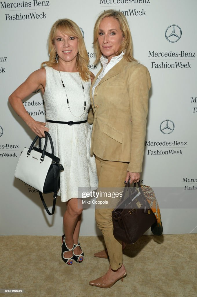 Ramona Singer and Sonja Morgan attend the Mercedes-Benz Star Lounge during Mercedes-Benz Fashion Week Spring 2014 on September 10, 2013 in New York City.