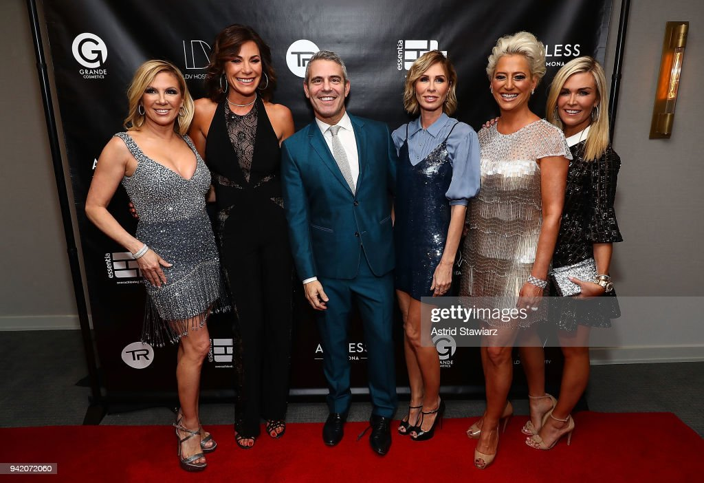 Ramona Singer, Luann de Lesseps, Andy Cohen, Carole Radziwill, Dorinda Medley and Tinsley Mortimer attend The Real Housewives of New York Season 10 premiere celebration at LDV Hospitality's The Seville, produced by Talent Resources on April 4, 2018 in New York City.