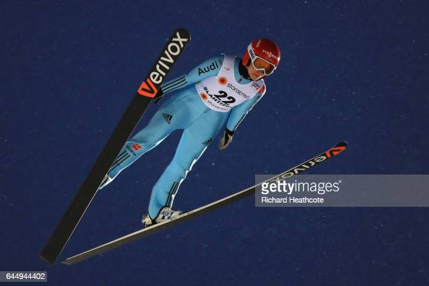 Ramona Straub of Germany competes in the Women's Ski Jumping HS100 during the FIS Nordic World Ski Championships on February 24 2017 in Lahti Finland