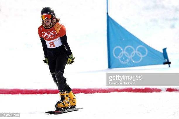 Ramona Theresia Hofmeister of Germany celebrates winning the Ladies' Snowboard Parallel Giant Slalom Small Final on day fifteen of the PyeongChang...