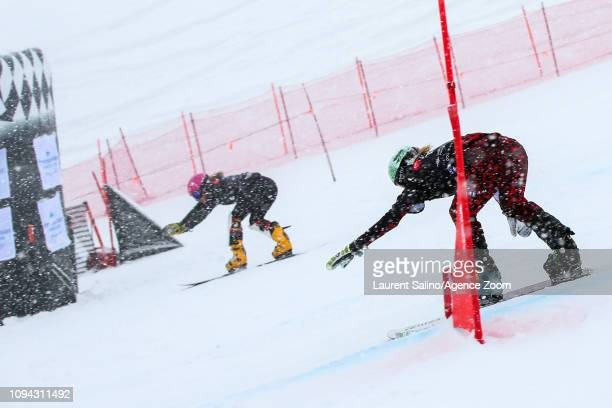 Ramona Theresia Hofmeister of Germany wins the bronze medal during the FIS World Snowboard Championships Men's and Women's Parallel Slalom on...