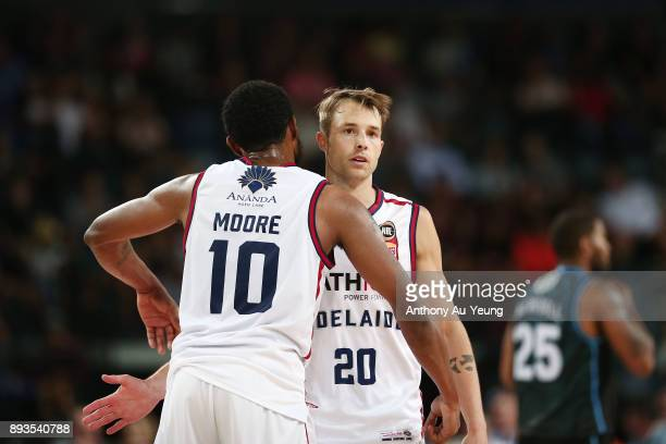 Ramone Moore and Nathan Sobey of the 36ers celebrate during the round 10 NBL match between the New Zealand Breakers and the Adelaide 36ers at Spark...